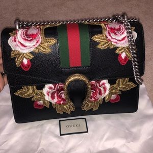 💯Gucci Black Leather Embroidered Dionysus bag